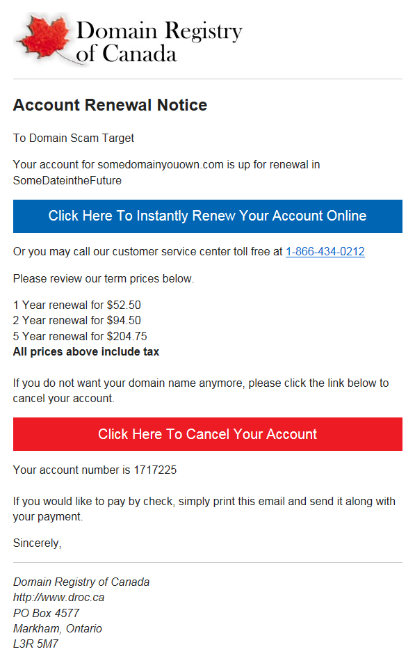 Domain Registry of Canada sample email